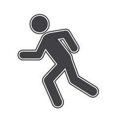 Flat black run icon vector