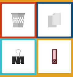 flat icon equipment set of trashcan paper clip vector image