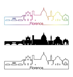 Florence skyline linear style with rainbow vector