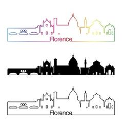 Florence skyline linear style with rainbow vector