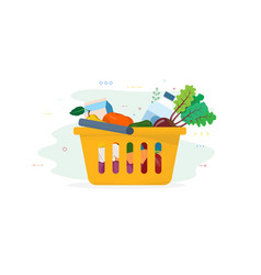 fresh food in shopping cart vector image