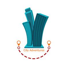 funny modern urban logo city adventure vector image