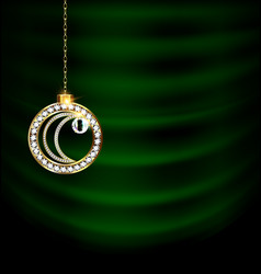 Green drape with jewel christmas moon vector