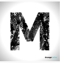 Grunge letter m black font sketch style symbol vector