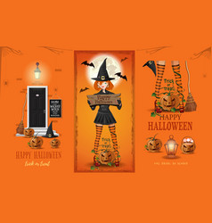 Halloween card with cute witch and jack o lantern vector