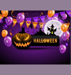 Halloween carnival background orange purple vector