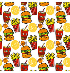 hand drawn seamless pattern with fast food doodle vector image