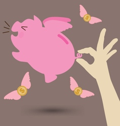 Hand try to catch pink piggy bank vector