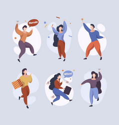 happy jumping characters joyful people running vector image