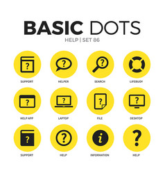 Help flat icons set vector
