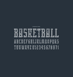 hollow serif font in the sport style vector image