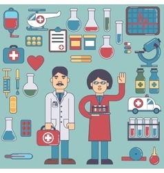 icons and characters on the medical theme vector image