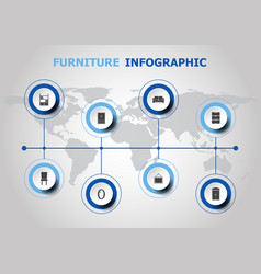 Infographic design with furniture icons vector