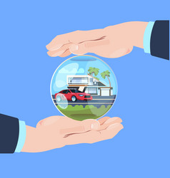 insurance service hand protective gesture bubble vector image