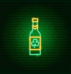 irish beer bottle neon sign vector image