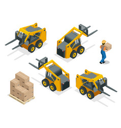 isometric forklift truck isolated on white vector image