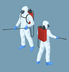 Isometric man in a white suit disinfects the vector