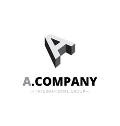 isometric monochrome A letter logo Company vector image