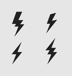 lightning bolt flat icons set vector image