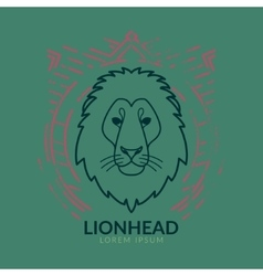 Lion head logo in frame vector