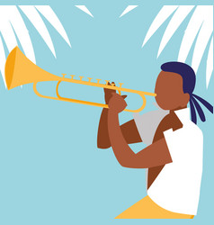 Man playing trumpet avatar character vector