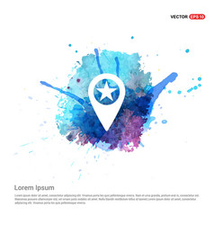 Map pin icon - watercolor background vector