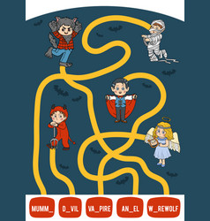 Maze game for children set halloween characters vector