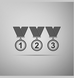 medal set icon isolated on grey background vector image