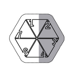Monochrome contour sticker of hexagon figure with vector