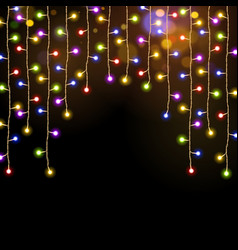 multicolor christmas lights garland vector image