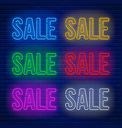 Neon colored signs set vector