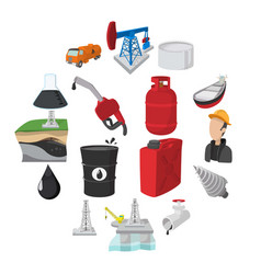 oil industry cartoon icons vector image