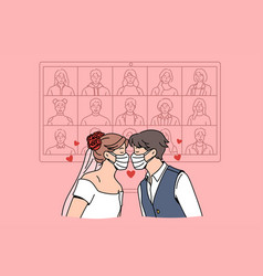 online wedding during epidemic concept vector image