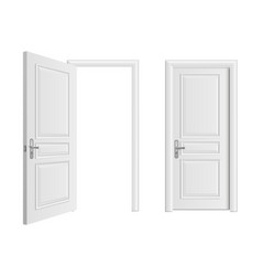 open and closed white entrance realistic door vector image