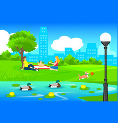 Picnic in city park template vector