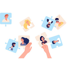 puzzle with employee leader making team hr vector image
