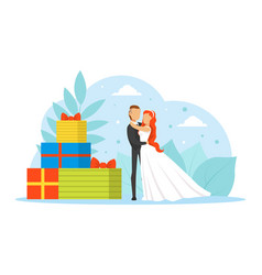 romantic just married couple tiny bride and groom vector image