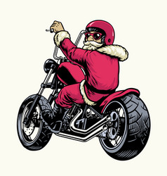 santa claus riding chopper motorcycle vector image
