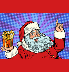 santa claus with christmas gift box vector image