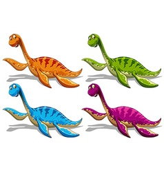 Sauropods in four different colors vector