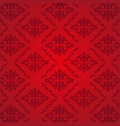 seamless damask pattern red background vector image