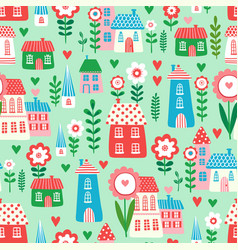 seamless pattern with houses and flowers vector image