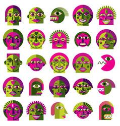 Set bizarre creatures modern art colorful vector