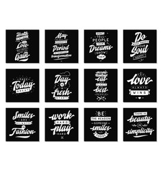 set cards with quotes vector image