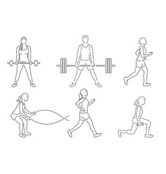 Set of fitness girls and man icon running vector
