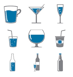 Set of icons of drinks gray blue vector image