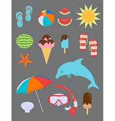 Set of Summer Fun Objects vector image vector image
