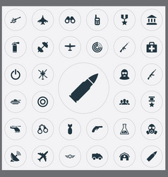 Set simple war icons vector
