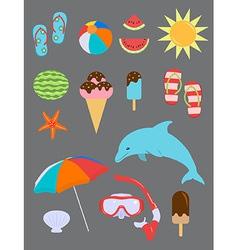 Set summer fun objects vector