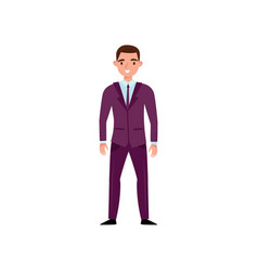 smiling man in classic purple suit standing vector image